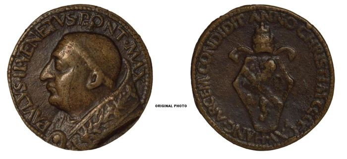 "Papal State Pope Paul II 1464-1471 Medal 1465 ""Fortificazione delle rocche Pontificie"" (RR)"