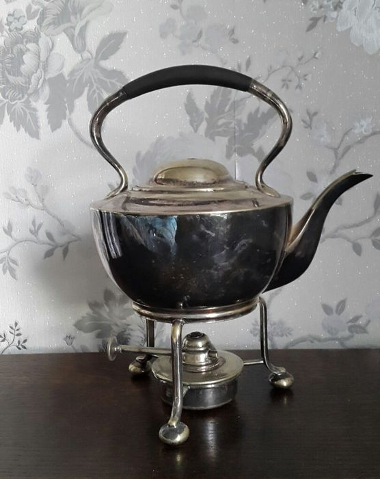 Old Silver Plated Kettle with stand and burner