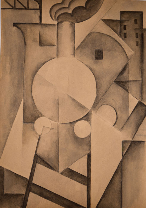 "Italian school - Futurist / Constructivist composition ""The train"""