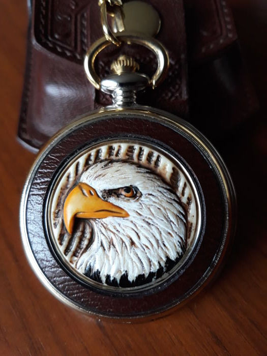 Watches, Parts & Accessories Beautiful Franklin Mint Pocket Watch Eagle Read Condition Description Jewelry & Watches