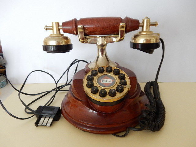 """Very nice old phone 1900  """"Spirit of Saint Louis """" Wooden and brass-20th century-France"""