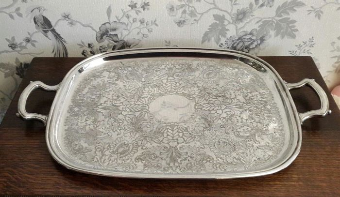 Large silver plated tray with handles and engraved motifs, 56x35 cm