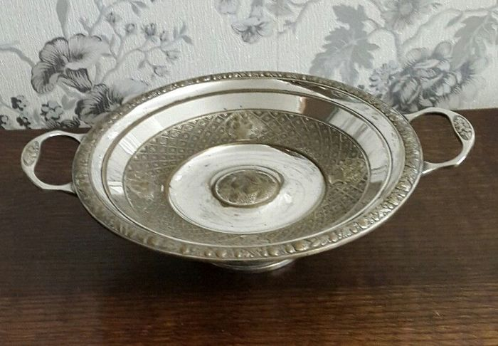 Antique centrepiece WMF bowl with handles, silver plated and decorated