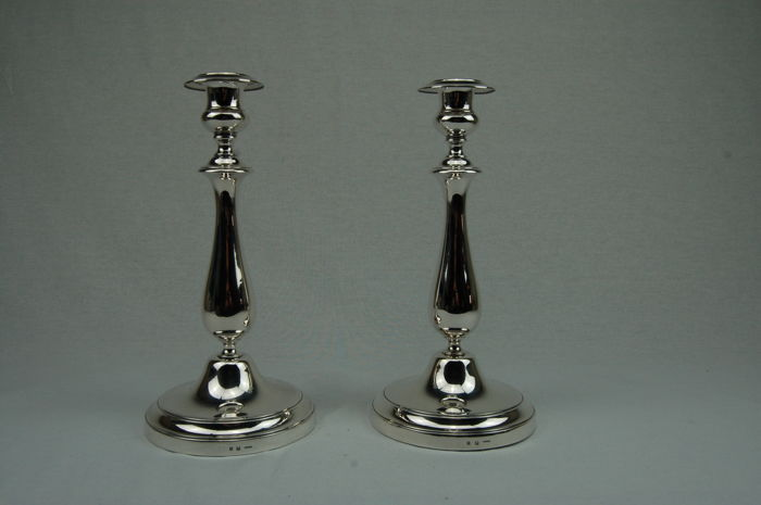 "Two Christofle candle stands, model ""ALBI "" France early 20th century"