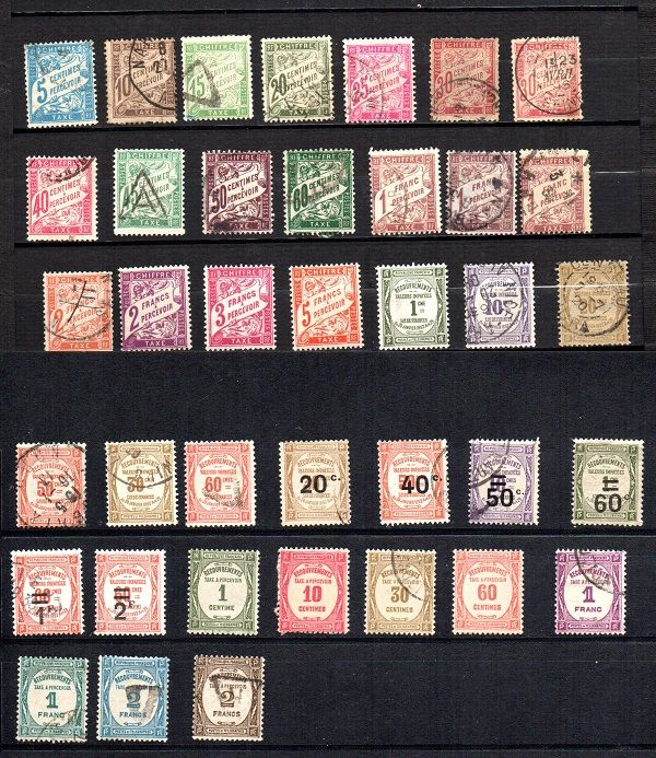France 1884/1960 – Selection of Postage Due Stamps – Yvert between no. 28 and 90