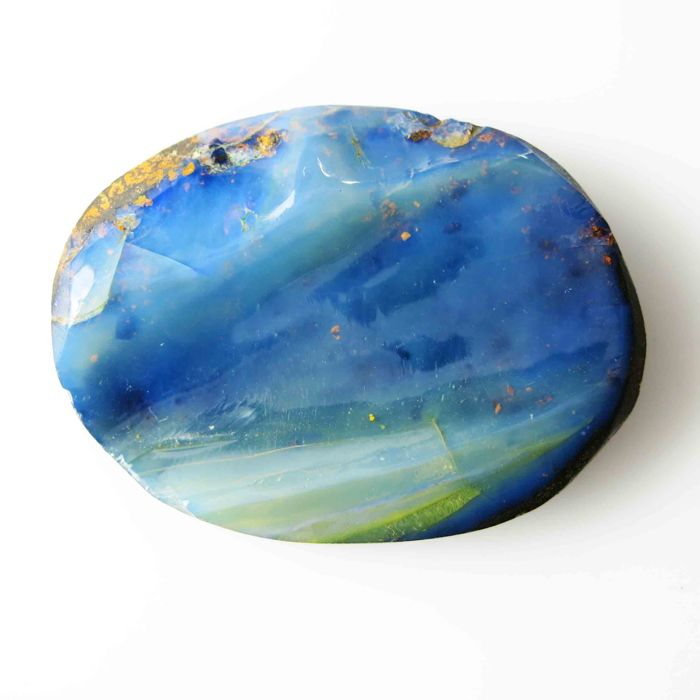 Fine quality see blue antique Australian Opal   33.0 x 25.0 x 5.8 mm - 55.155 ct