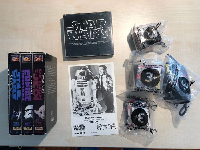 Star Wars Trilogy Collectibles, R2-D2/Kenny Baker Autograph Card, Soundtrack CD 1977, Taco Bell Special Edition 1997 and THX Master VHS 1995
