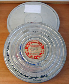 3 large empty film reels for 16 mm film in can