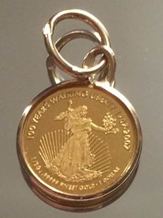"24ct & 18ct Gold Pendant ""Walking Liberty"""