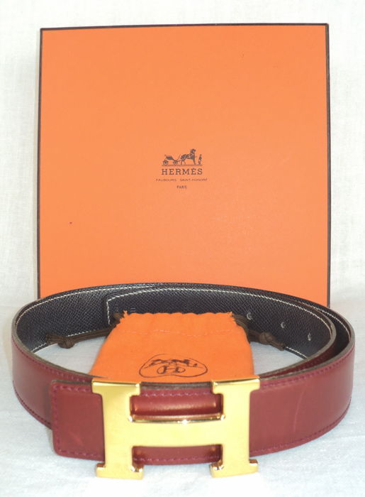 "Hermès - Gold Plated ""H"" Reversible Belt Buckle Kit"