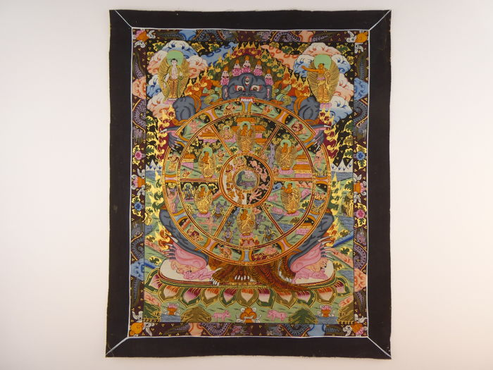 Thangka The Wheel of Life - Hand-painted - Tibet - Late 20th Century