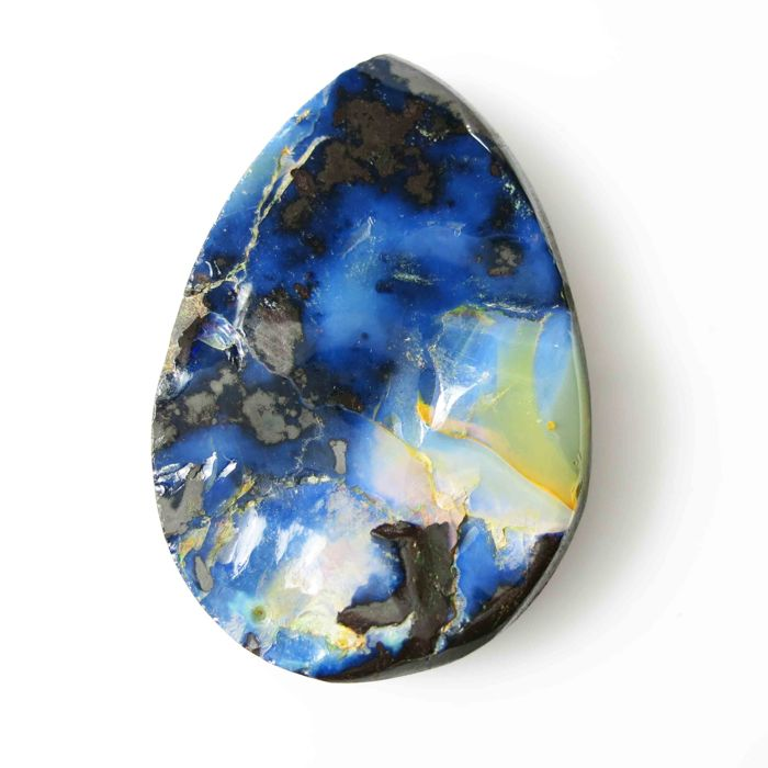 Fine quality see blue antique Australian Opal   39.0 x 26.0 x 6.7 mm - 73.445 ct