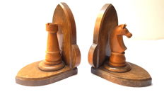 A Pair Wood Chess Bookends