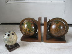 Vintage globe bookends, extra large and a globe pen stand