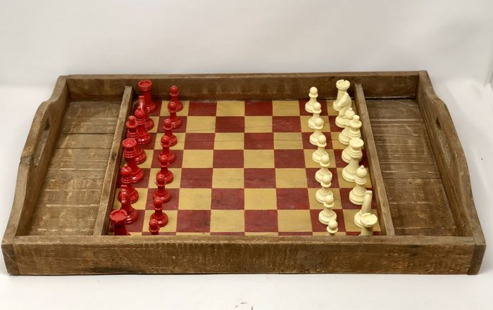 Old chess with wooden board