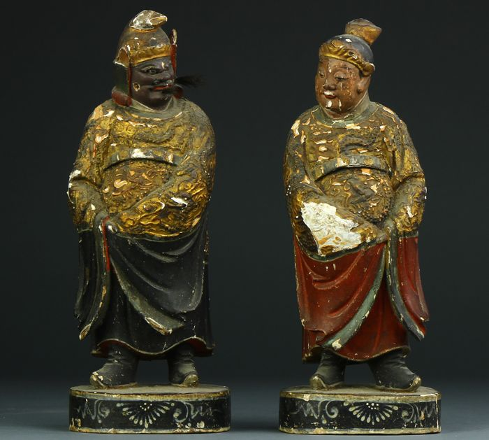 Lot with 2 Taoist wooden statues - China - 18th/19th century (Qing period)