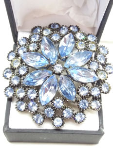 Large Signed Sphinx Blue Japanned finish brooch.