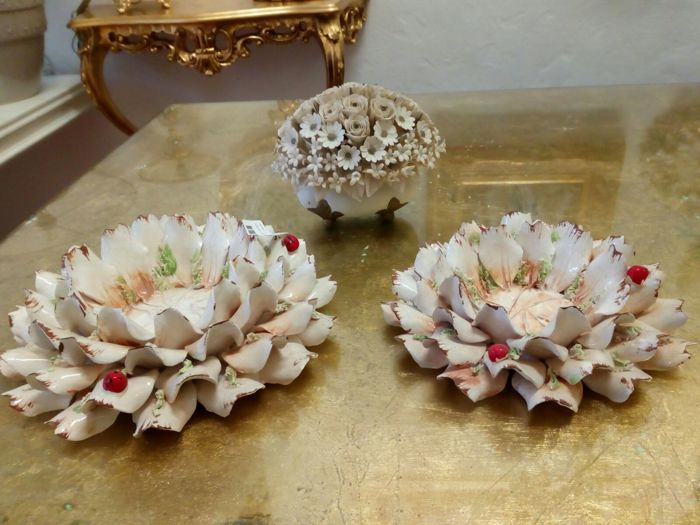 Capodimonte Lot of Three - Candle Holders Marta Marzotto - Valentina Artistic Creations - Flower Basket