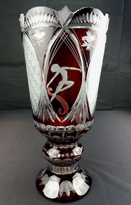 Antique And Elegant Ruby Crystal Vase Mouth Blown And Engraved