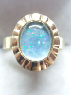Pale Blue Opal Doublet gold fan design ring