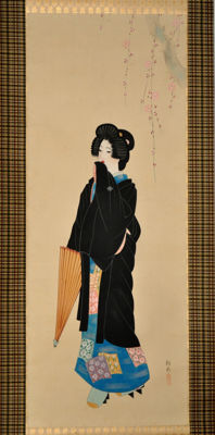 "Beauty with umbrella ""Style of Shinsui Itō"", 伊東 深水 - Japan - mid. 20th century"