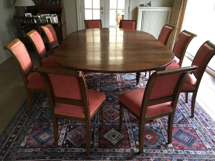Rectangular walnut dining room table with rounded sides - with 5 ...