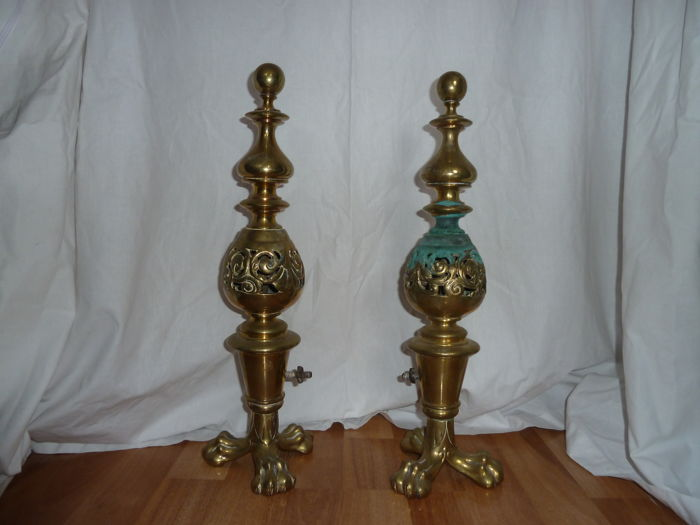 Large Heavy Pair of French Brass Claw Feet Andirons,Fire Dogs or Chenets 1900's