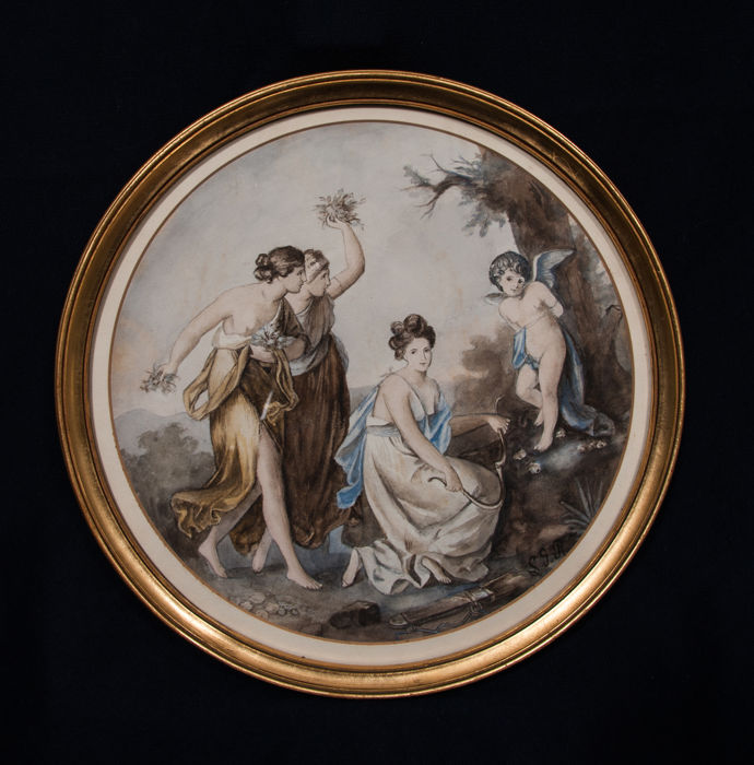 Watercolor painting: Even Cupid is not alien to crime after A. Kauffmann - France - around 1840