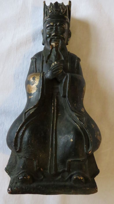 Signed Chinese bronze statue of Fu - China - 2nd half 20th century (23cm)