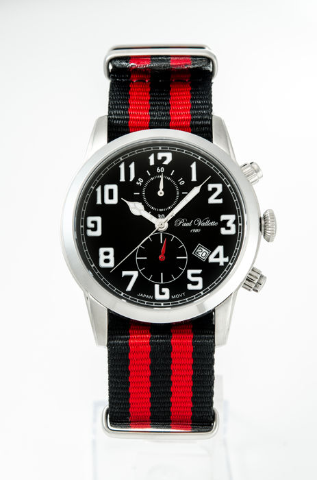 Paul Vallette  - Black dial with chronograph  men''s Nato watch - PV150213-SS-05-NATO  - Homme - 2011-aujourd'hui