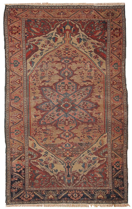 Hand made antique Persian Sarouk Farahan rug 3.1' x 5.4' ( 94cm x 164cm) 1880s
