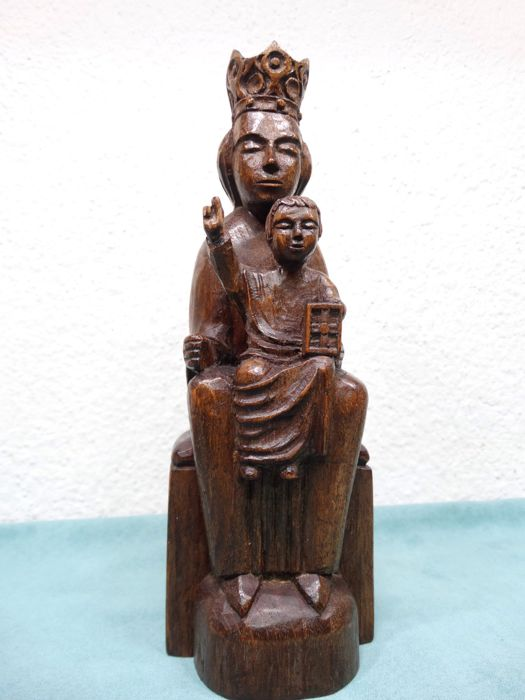 Hand-made wooden Mary with Jesus sculpture - signed - the Netherlands