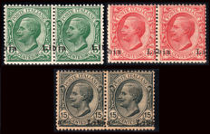 Libya, 1912–'15 - Leoni, 3 pairs with shifted overpting - Sassone  No.  3pb, 4pb, 33c