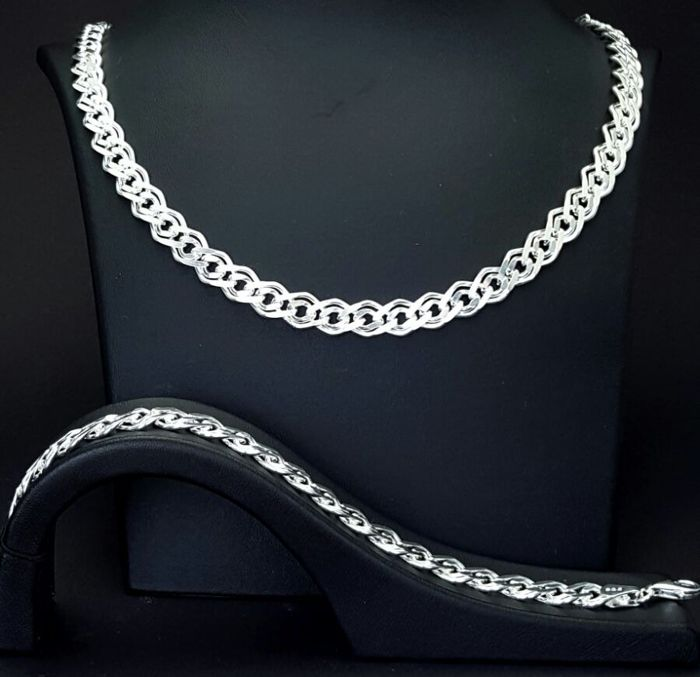 925 Italian Sterling Silver Nonna(Rambo) Necklace and Bracelet,Chain:60cm,Bracelet:21cm