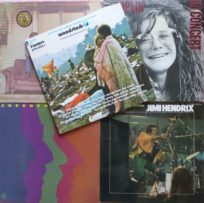 """Three Days of Peace and Music"" orginal Woodstock triple album plus 4 albums by Janis Joplin (double live), Crosby, Stills & Nash, CCR and Jimi Hendrix"