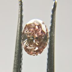 0.18 ct Oval cut diamond Fancy Deep Brownish Pink Even I1  *** Low Reserve ***