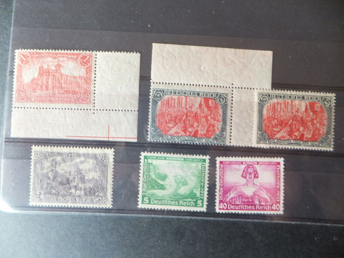 Germany Empire No. 92; 94; 95 (2); 472 and 478 according to Yvert catalogue