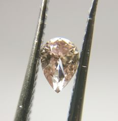 0.22 ct Pear cut diamond Fancy Brownish Pink Even I1 *** Low Reserve ***
