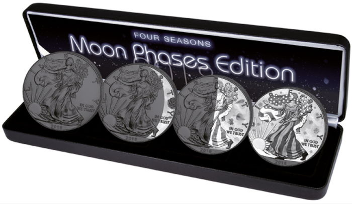 United States - 1 Dollar 2018 American Silber Eagle -  4 Jahreszeiten 2018 - Moon Phases - 4 x 1 Oz - Silver
