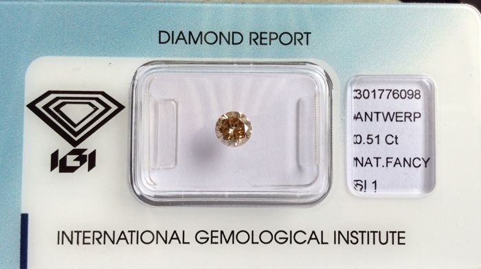 Natural Diamond Round Brilliant 0.51 Carat Yellowish-Brown SI1 IGI-Seal