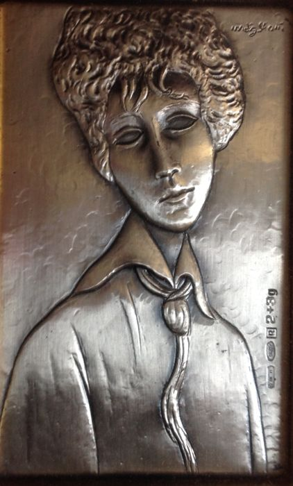 Engraving on a silver plate - .925 silver - Amedeo Modigliani - Italy - Late 20th century