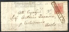 Lombardy-Venetia 1851 - 15 Cent.  Vermilion red on letter from Vicenza to Asolo - Sassone No.  4b