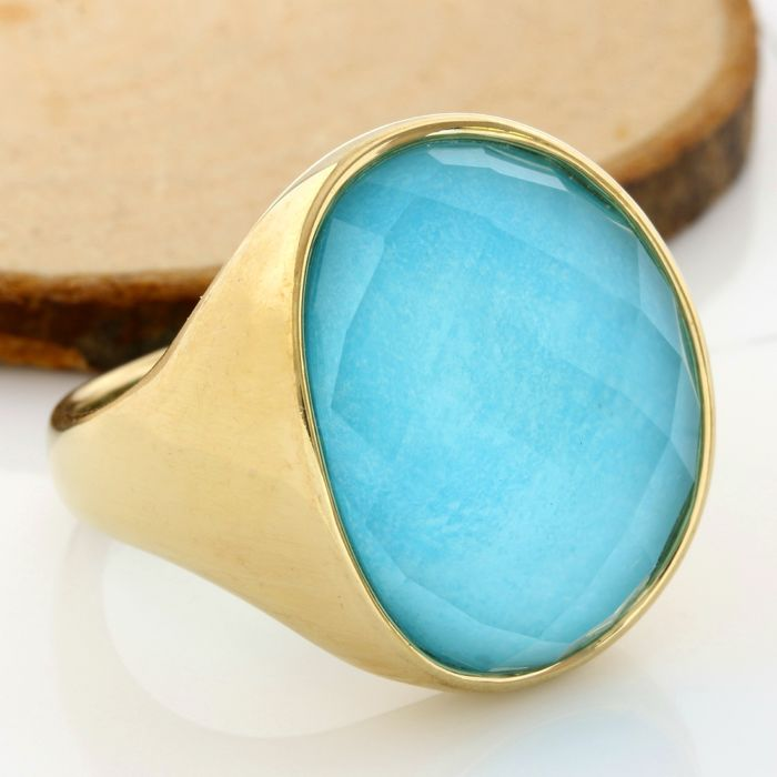 14 kt Yellow Gold - 22x19 mm Blue Quartz Ring; Size: 10