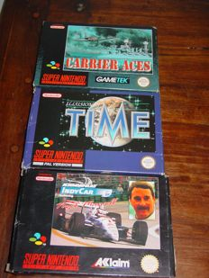 3 Super Nintendo games :  Carrier Aces  + Illusion of Time + Indycar