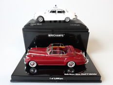 Minichamps - Scale 1/43 - Lot with 2 classic British models: Jaguar Mk.II Police & Rolls-Royce Silver Cloud II Cabriolet