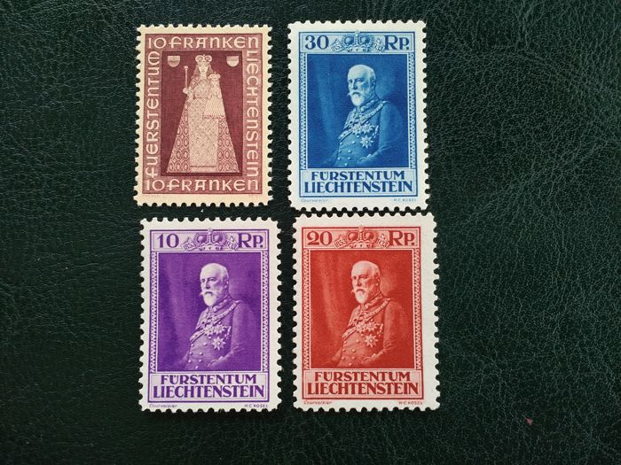 Liechtenstein 1933/1941 - Mary and Jesus and Franz I - Michel 122/124, 197.