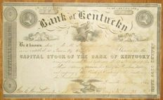 USA - Bank of Kentucky - early Share Certificate 1844 - issued Louisville