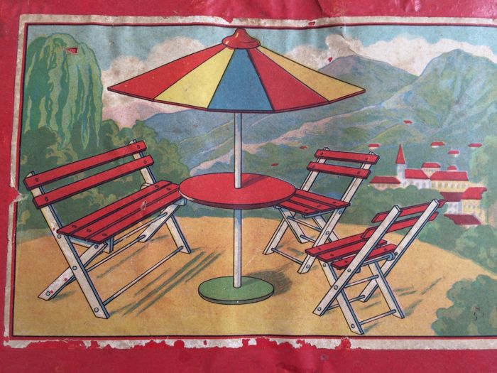 Unique wooden garden furniture for a doll's house France, early 20th century