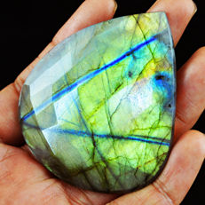 Top Quality Green Flash Labradorite Cabochon  - 63x55x07 mm - 40 gms