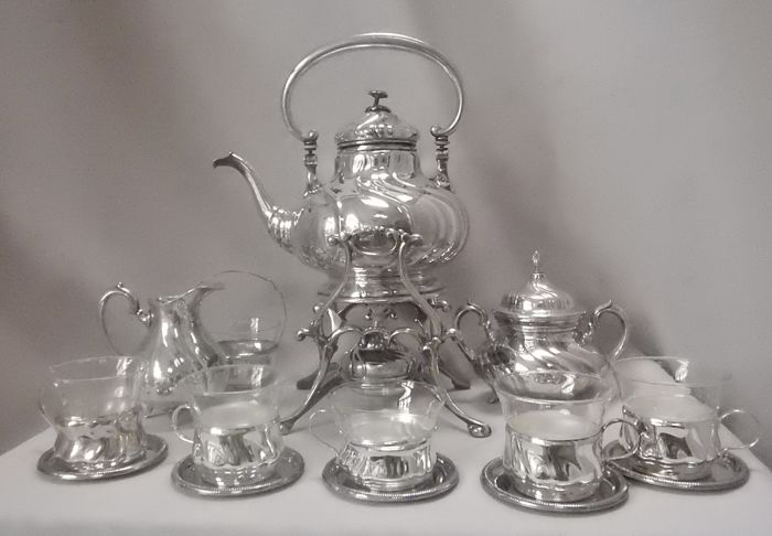 silvered boulloir with accessories - Silverplate - Germany - 1900-1949